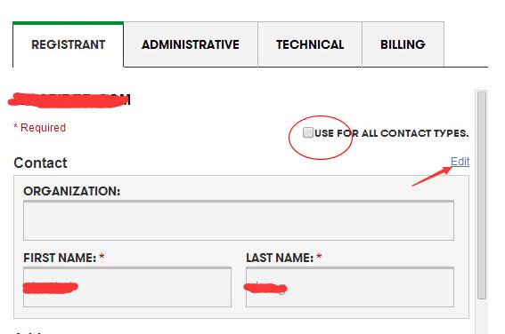 修改Godaddy域名联系信息的方法